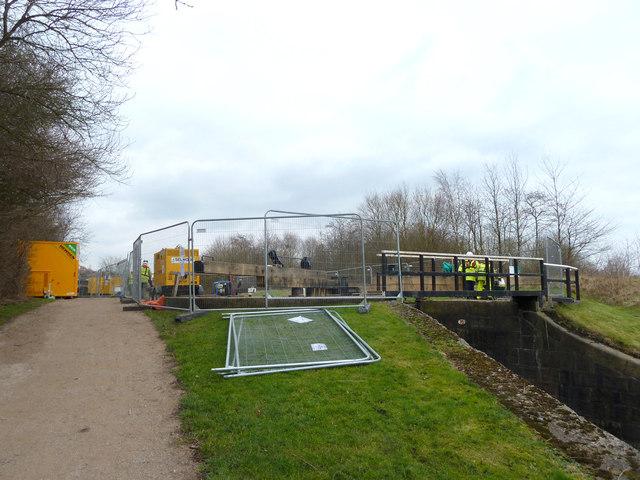 Lock repair work on Leeds Liverpool Canal near Top Lock, Wigan