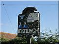 TL8094 : Ickburgh village sign (detail) by Adrian S Pye