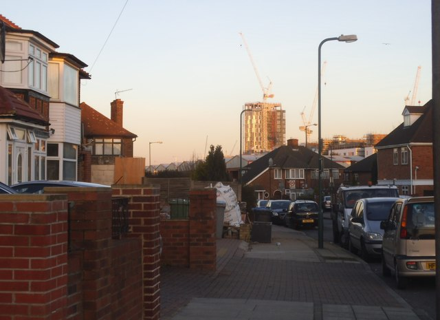 New tower block under construction from Tewkesbury Gardens