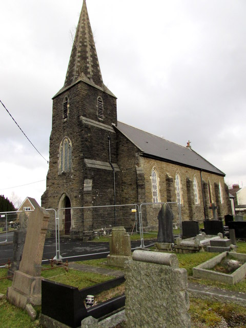 Fenced-off church tower in  Pontarddulais