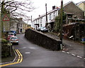 SS8696 : Oncoming vehicles in middle of road sign in Cymmer by Jaggery