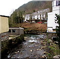 SS8696 : Confluence of the Afon Afan and the Afon Corrwg in Cymmer by Jaggery