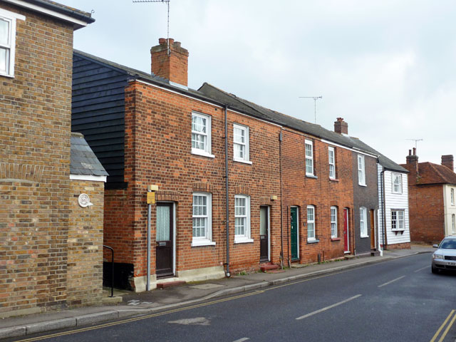 Red brick row, Stoneham Street, Coggeshall by Robin Webster