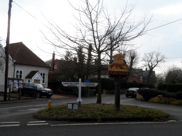 Junction and village sign, Foxearth