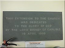 SD5193 : St Thomas, Kendal: dedication by Basher Eyre
