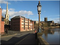 SO8454 : The South Quay in Worcester by Philip Halling