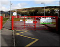 SS8690 : Red entrance gates to Garth Primary School, Maesteg by Jaggery