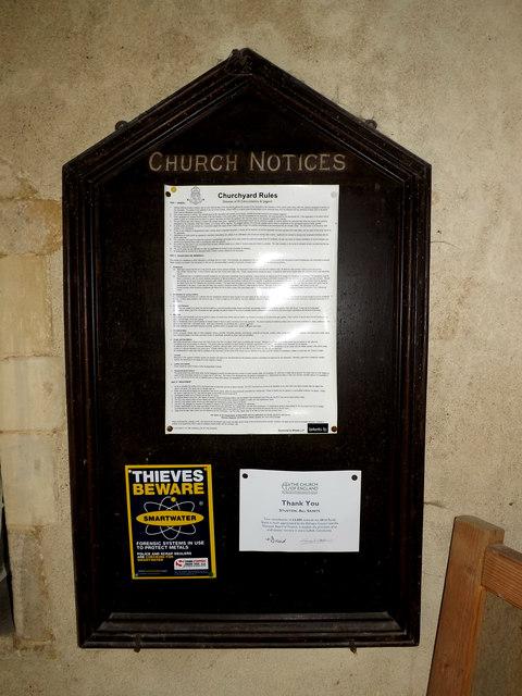 All Saints Church Notice Board