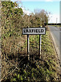 TM2872 : Laxfield Village Name sign by Adrian Cable