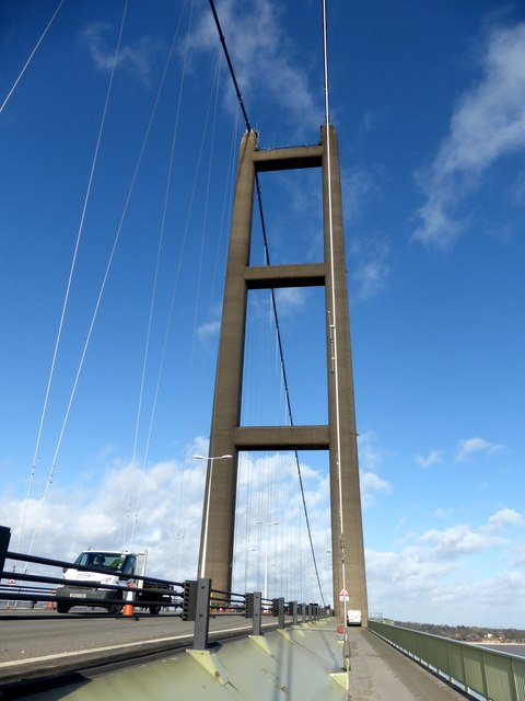 The south tower of the Humber Bridge