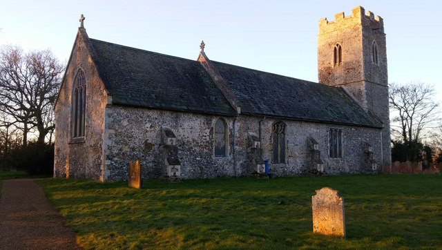 St Mary's, Homersfield, in early-morning light