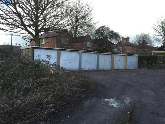 Hartshill: lock-up garages behind Albany Grove