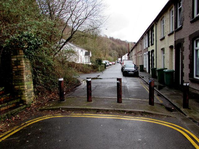 Five metal posts across Ynysangharad Road, Pontypridd