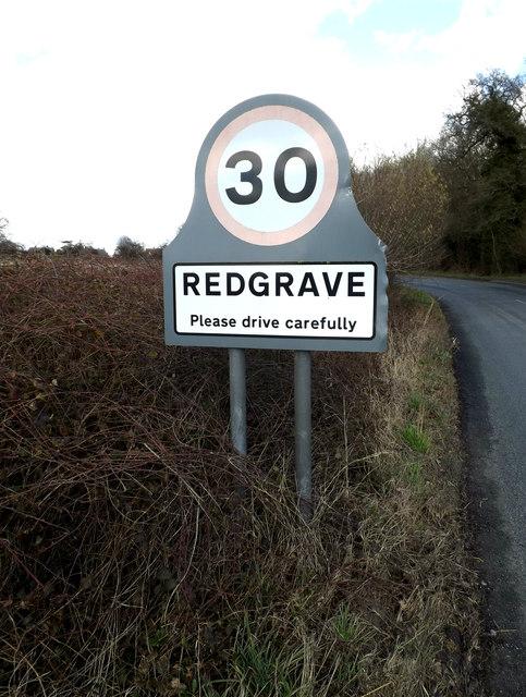 Redgrave Village Name sign
