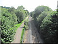 ST1295 : NCN47 and railway line heading towards Ystrad Mynach by John Light