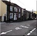 SS8694 : White arrow on Blaencaerau Road, Caerau by Jaggery