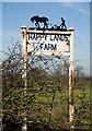 TA1554 : Sign for Happy Lands Farm, near Beeford by Paul Harrop