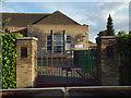 SP1482 : Pedestrian gates, Ulverley School, Rodney Road, Olton by Robin Stott