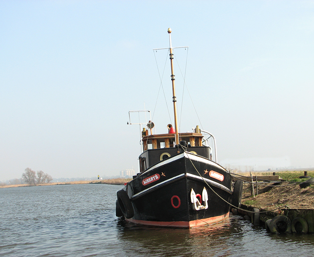 """The """"Liberté"""" moored on the River Yare"""