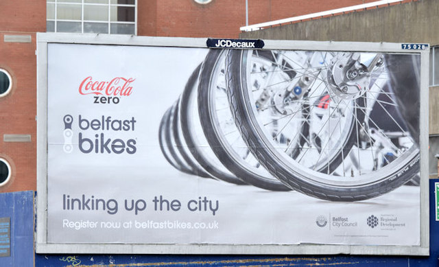 """Coca-Cola """" Belfast Bikes"""" poster (March 2015)"""