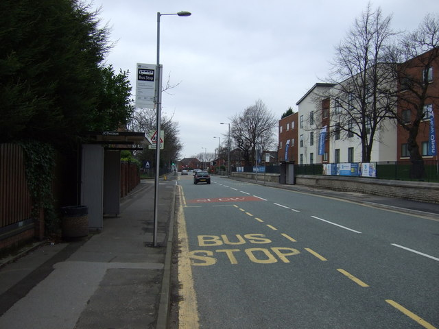 Bus stop and shelter on Darnton Road, Ashton-under-Lyne