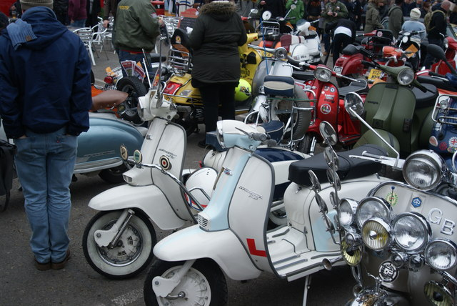 View of a Lambretta JT125 and TV230 in the Classic Car Boot Sale