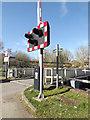 SU5766 : Woolhampton Bridge warning lights by Adrian Cable