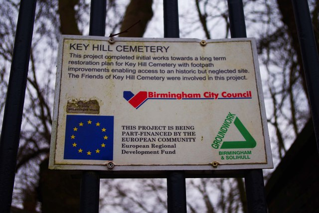 Birmingham City Council sign at Key Hill Cemetery, Key Hill, Birmingham