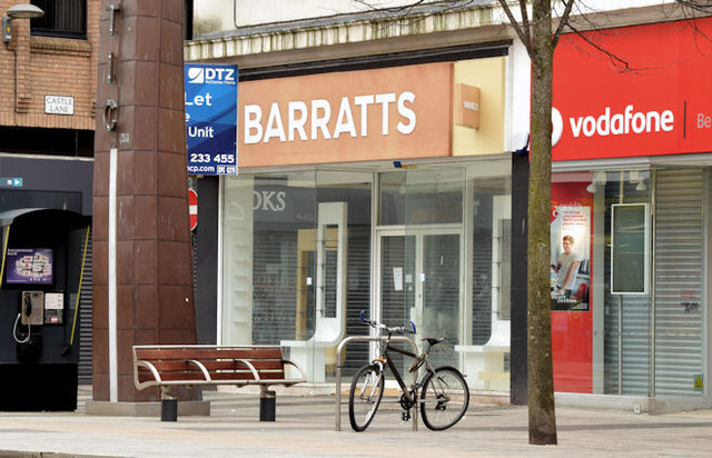 """Former """"Barratts"""", Donegall Place, Belfast (March 2015)"""