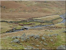 NY3614 : Footbridge and livestock pens in Grisedale by Oliver Dixon