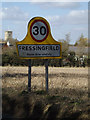 TM2677 : Fressingfield Village Name sign on the B1116 Laxfield Road by Adrian Cable