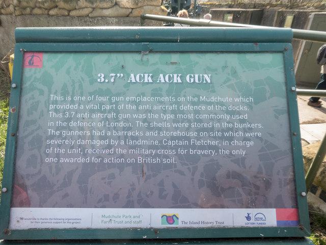 Information Board regarding Ack Ack Gun, Mudchute  Farm, London E14