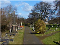 SK5802 : Path in Welford Road Cemetery by Mat Fascione