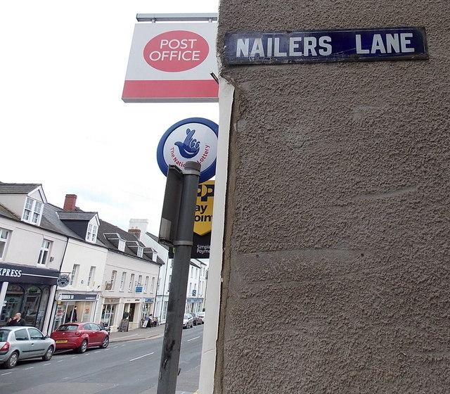 Old-style enamel name sign, Monmouth