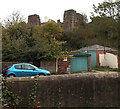SO5012 : Monmouth Castle glimpsed from Nailers Lane by Jaggery