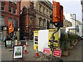 SJ8398 : Construction hoardings on Cross Street by Steve  Fareham