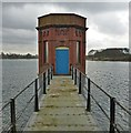 SP8365 : Sywell Reservoir bridge to valve tower by Rob Farrow