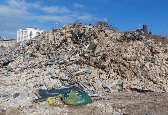 Huge pile of rubble at Welford Place