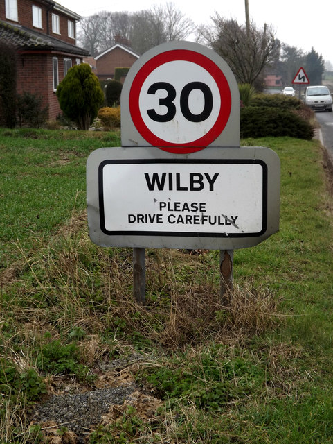 Wilby Village Name sign