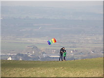 ST8412 : Child Okeford: flying a kite on Hambledon Hill by Chris Downer