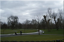 TQ2780 : View of the Princess Diana Memorial Fountain from Hyde Park #2 by Robert Lamb