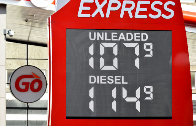 Fuel price sign, Belfast (22 March 2015)