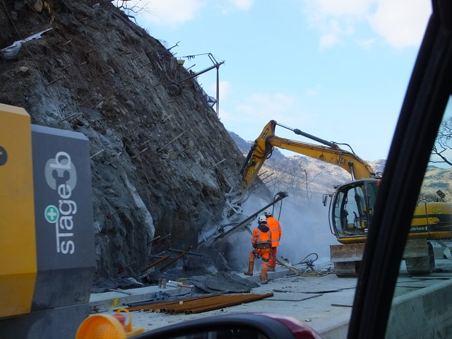 Road works at Pulpit Rock, on the A82 by Loch Lomond