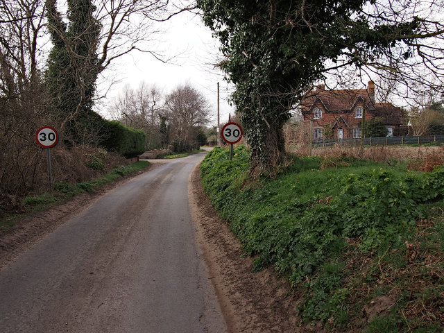 30 mph limit signs on School Road, Sudbourne