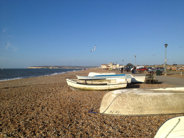 Boats at the southeast end of the beach, Seaford