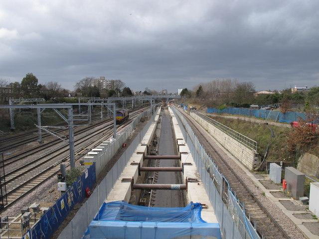 Acton Crossrail diveunder construction - view west