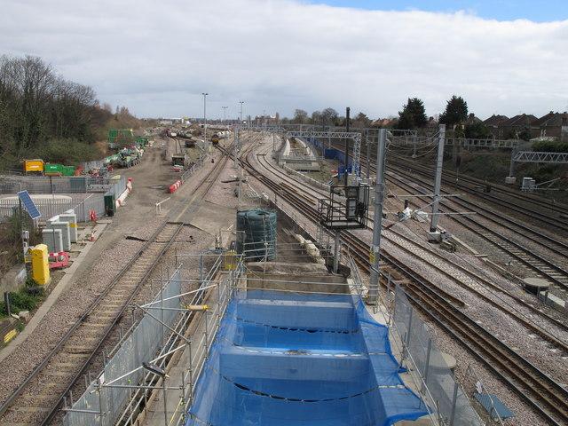 Acton Crossrail diveunder construction - view east