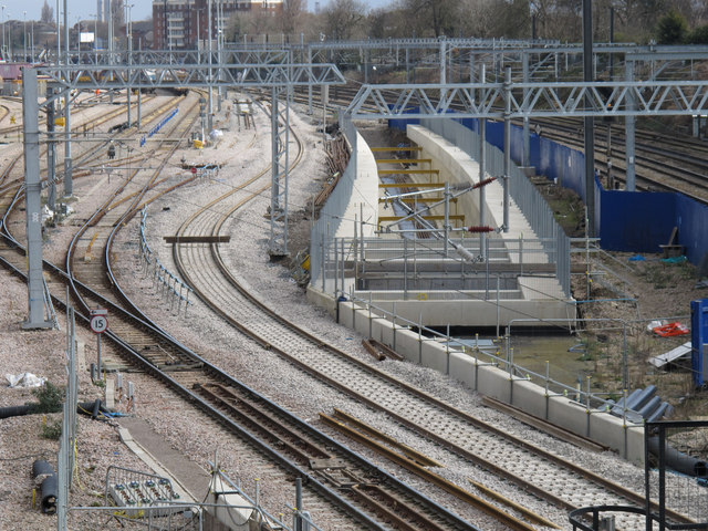 Acton Crossrail diveunder construction - view east of goods lines