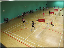 TQ4490 : Badminton tournament in Redbridge Sports Centre by David Hawgood