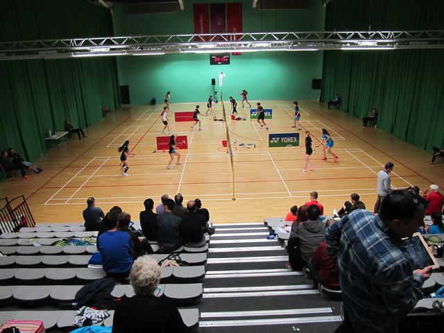 Spectators at badminton tournament, Redbridge
